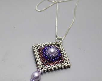 Necklace, Diamond Shaped Flower Pendant with Pearls on Sterling Silver Chain