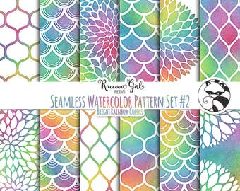 Seamless Watercolor Pattern Set #2 in Bright Rainbow Colors Digital Paper Set - Personal & Commercial Use