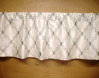 Ready to Ship! Gathered Straight-Hem Rod Pocket Valance in Ivory Faux Silk with Gray Embroidered Trellis Diamond Pattern Dining Living Bed