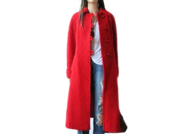 TAKE 40% OFF Wool winter coat jacket, toggle// red// Medium/Large// red // wool//long// short// vintage//