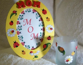 Mom Oval Frame with Matching Candleholder