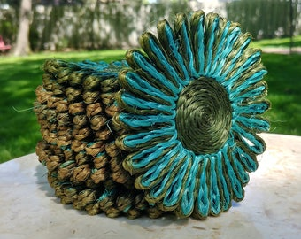 12 Turquoise and Green Twine Woven Flower Coasters