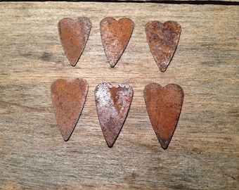 "1"" Rusty Tin Heart. Package of six (6). Tin Hearts. Rusty Tin. Metal Hearts. Rusty Metal Heart. Rusty Heart. Rusty Tin Embellishments."