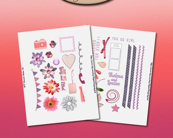 Daily Planner, Digital, Printable, Element Stickers: BFF
