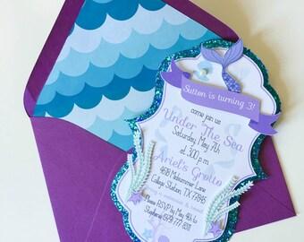 Under The Sea Invitation - Under The Sea Invitations - Mermaid Invitation - Mermaid Invitations - Birthday - Custom Order Avail. - 10/pack