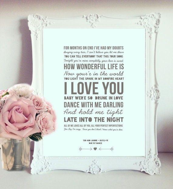 Personalised song lyrics print christmas gift custom poem like this item stopboris Gallery