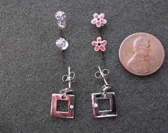 3 Pairs of 925 Sterling Silver earrings