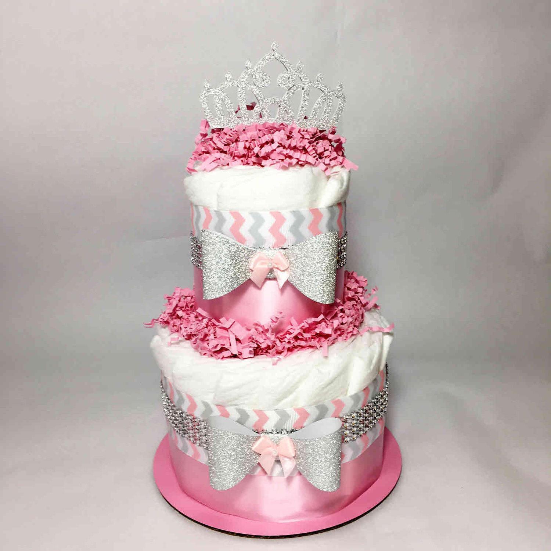 Pink & Silver Chevron Small Diaper Cake Centerpiece Girl