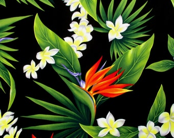 Fabric, Leis of Paradise,Tropical Hawaii, Bird of Paradise Flower Leaves on Black, By the Yard