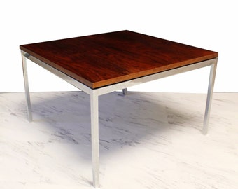 Mid Century Modern Knoll Rosewood And Chrome Side End Coffee Table