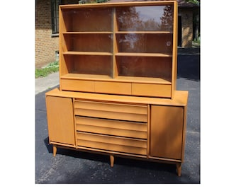 Mid Century Modern Heywood Wakefield Champagne Credenza Buffet Sideboard Hutch