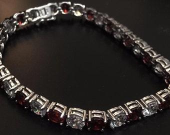Vintage red and white garnet cz 25k tennis bracelet 925 sterling silver