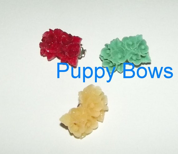 Puppy Bows ~Set of 3 dog hair barrette flowers tiny dogs  ~USA seller