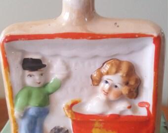 Vintage Hand Painted, Nip Bottle, Jug, Whiskey Flask, Made in Japan