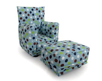 Barbie Doll Living Room Chair & Ottoman-Blue with Multi colored Polka Dot print-1:6 Scale- works with any Blythe and 11 inch fashion doll