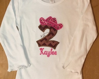 Pink and Brown Cowgirl Embroidered Birthday Shirt or Baby Bodysuit