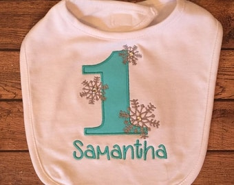 Aqua Winter Onederland Bib With Name Embroidery