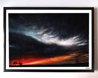 Original Framed Painting, Sunset, Storm, Windmill, Trees, Silhuette, Fantasy, Wall Art, Home decor, Acrylic painting
