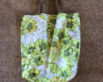 Green flowered shopping market bag
