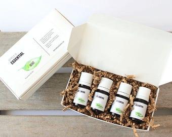 Mint Essential Oil Set  - Peppermint, Spearmint, Wintergreen and Japanese Mint Essential Oils.  Mint Essential Oil Kit.  Fresh Minty Scents