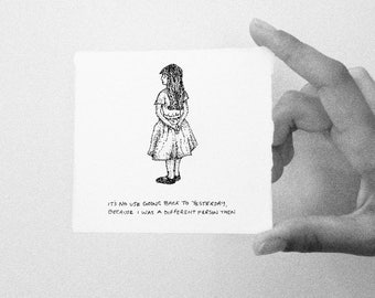 Alice in Wonderland Miniature Drawing ~ Illustration ~ Print ~ Quote A5