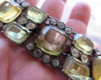 Vintage Trifari Green Jeweled Statement Necklace