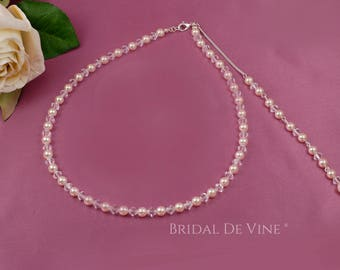 Bridal Pearl  & Crystal Necklace with Backdrop with CRYSTALLIZED™ Swarovski Pearls