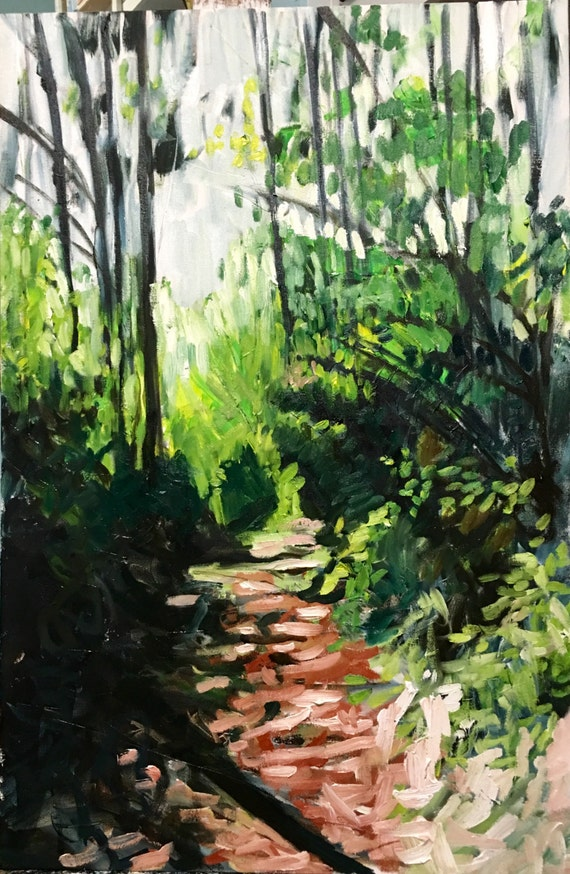 "Sorry- this item is SOLD- Oil Painting: Forest Path, 36"" x 24"""