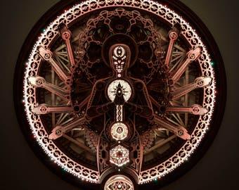 Multiarm Deity Sacred Geometry Mandala Laser cut Buddha Shiva Vishnu Metatron's Cube Flower of Life Lamp Rainbow Wood Sculpture LED light
