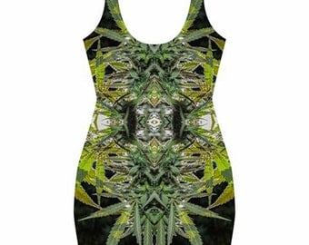 Body Con Dress, Ganja Dress, in a Blueberry Marijuana Print with Black Background, Rave Dress, Festival Dress, Clubwear Dress- MADE TO ORDER