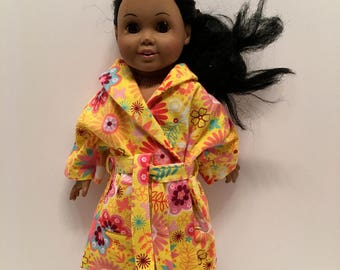 American Girl and Maplelea yellow crazy flower flannel  housecoat with tie
