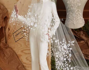 1pc Super Luxury Floral Lace Appliques Ivory Exquisite Lace Applique For Wedding Dress Grown Bridal Veil Bodice