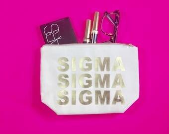 Sigma Sigma Sigma Cosmetic Bag | Tri Sigma gift | bid day | rush | gold | big sis | lil sis | sorority