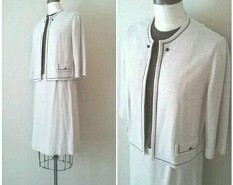 Vintage 1960s Talbott Tan Brown Suit, Tara Knits 60s Suit, Knit 3 pc Suit,Skirt Suit,Tan and Brown,Neutral Suit, 1960s Classic Suit, Medium