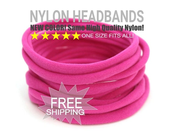 Stretchy Baby Headbands BRIGHT PINK / Wholesale Spandex Headband / Skinny Very Stretchy One Size Fits most Nylon