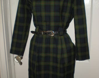Positive Attitude 90's Plaid Fall/Winter Working Girl Business Dress Size 5/6 Green Blue Yellow Plaid Long Sleeve w/western concho belt
