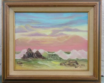 Old Vintage Rocky Ocean Waves Seascape Beach Sunset Coastal Landscape Painting