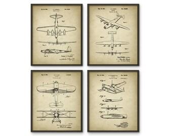 Aircraft Prints Set Of 4 - B17 Flying Fortress Bomber - B24 Liberator Bomber - Warplane - Bedroom Decor - Aircraft Design - Pilot Gift Idea