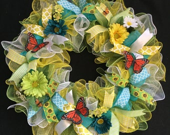 Spring Wreath, Summer Wreath, Butterfly Wreath, Monarch Butterflies, Spring Decor, Garden Decor, Mother's Day Gift, Gifts for Her