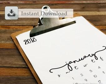 SALE*** 2018 Calendar pages - Instant Download