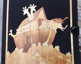 Sale Noah's Ark Diorama Fabric Case WoodChip Sculptures Animals
