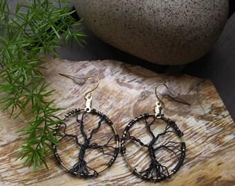 Tree of life hoop earrings nature earth jewelry
