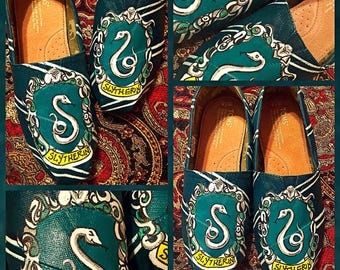 Custom painted Slytherin Toms. Designed and personalized just for you!