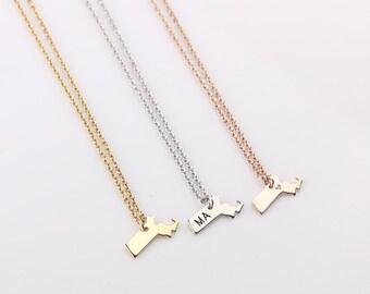 Dainty Gold Massachusetts Necklace , Rose Gold State Charm,  Massachusetts State Necklace, Massachusetts State Bracelet