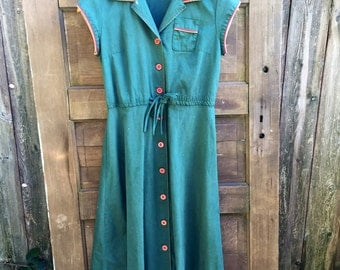 Vintage 50's/ 60's Teal Green Button Down Day Dress size Medium