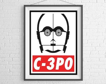 C-3PO - OBEY - Star Wars - Art Print - Wall Art