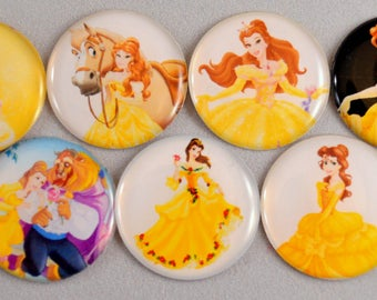 "9 pcs. PRINCESS BELLE 1"" flatback cabochon Hair bow centers embellishments Beauty and the Beast"