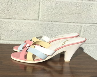 Vintage High Heeled Sandals White Plastic Heel Pink Light Blue Yellow Straps Size 9 -- 3 inch heel