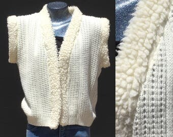 Cream Medium Boho Vest Sweater White Bohemian Seventies Eighties Southwest California Beach