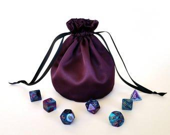 Eggplant Purple Drawstring Dice Bag
